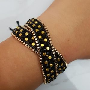 Double Strand Gold Black Wrap Bracelet